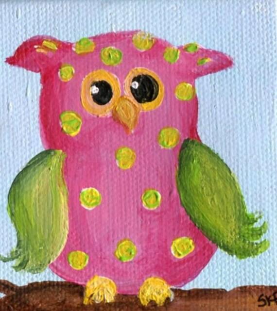 Owl mini painting on Canvas, Easel, 3 x 3, original, polka dots, l bird art, owl decor, miniature painting, mini canvas, owl mini canvas art