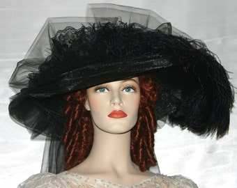 "Victorian Hat Steampunk Hat, Gothic Hat, Funeral Hat ""Black Crystal Fairy"""" Black Tea Hat"