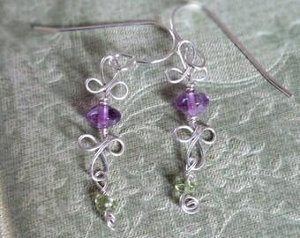 Amethyst and Peridot Dangle Earrings, Amethyst Earrings Dangle and Drop Earrings Semi Precious Jewelry Amethyst Jewelry Girls Gift Jewellery