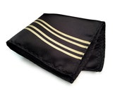 """Racing Stripe pocket square: """"Special Formula"""" black & gold livery handkerchief. Gold stripes on black. Race car enthusiast gift."""