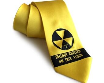 Fallout Shelter silk necktie. Cold War, Atomic era nuclear design men's tie. Black silkscreen print. Choose lemon yellow & more.