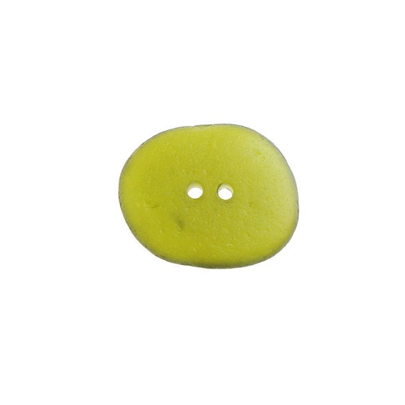 seaglass button, olive green button, genuine sea glass, drilled button, sewing notion, craft supply, handmade button, glass button, diy
