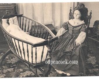 Doll creepy cradle photo postcard Victorian