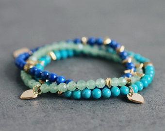 Green Aventurine, Lapis Lazuli, blue Turquoise, golden bronze Lotus Petal skinny gemstone bracelet stack