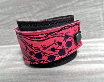 Leather Cuff Wrap Bracelet, Twiggy Print in Brown & Fuchsia * SALE * Coupon Codes