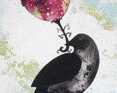 Large Original Acrylic Painting, Folk Art Flower and Raven , Folk Art Collage, Mixed Media Painting