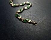 vday sale - dryad - vintage green enamel leaf chain link bracelet - green natural leaf leaves antique vintage brass mucha inspired