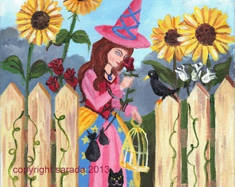 Spring pink witch rose garden photo print art reproduction 5 x 7 sunflowers crow black cat pagan art wiccan nature Easter Ostara