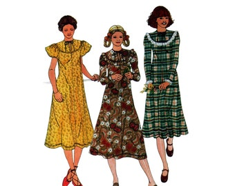 70s uncut Romantic Dress pattern Betsey Johnson Prairie Dress vintage 36-28-38 designer A-line