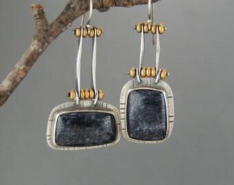 Asymmetrical Dumortierite Earrings