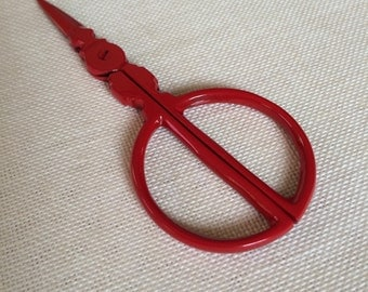 bright red CIRCLE handle embroidery scissors roly poly style unique design