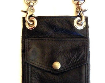 Black Leather Hip Pouch- Belt Pouch- Mapcase Bag  Made to Order By Darkwear Clothing