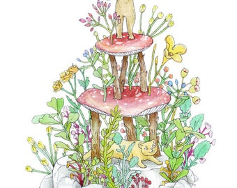 Fine Art Print | Nature Cake | Illustration by Marie Gardeski