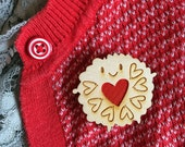 Jammie Dodger Wooden Brooch With Hand-Painted Heart