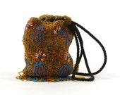 1920s Beaded Flapper Purse / Antique Beaded Drawstring Evening Bag