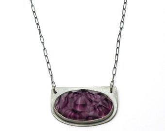 Amethyst Rock Candy Antique Glass and Sterling Necklace