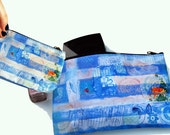 Coin Purse and makeup bag purse organizer gift set | Flag of Greece| Greek flag | blue white | printed pouch