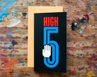 High 5 (CON-01) Congratulations Small Card Good Job Promotion Graduation Achievement Retirement Blank Inside