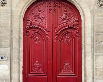 Paris Photography, Red Door, Paris Print, Romantic Art Print, Red Paris Decor, French Home Decor, Paris Architecture Print