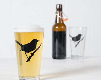 Wren, screen printed pint glassware, black