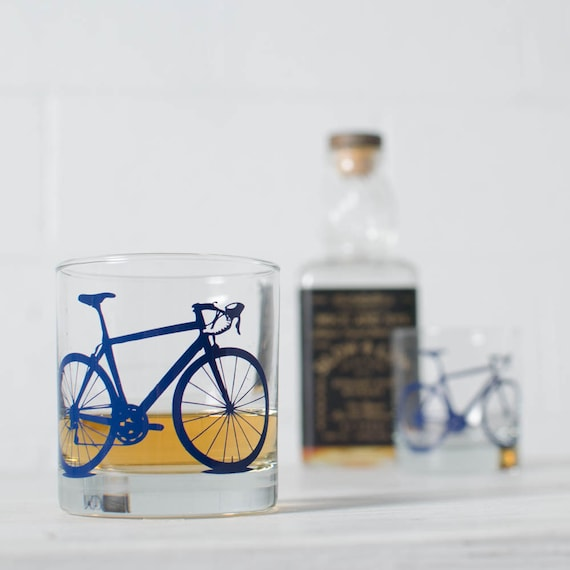 VITAL BICYCLE GLASSWARE screen printed bike glasses old fashioned or pint