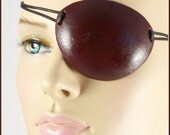 Burgundy Red Pirate Eye Patch handmade leather masquerade costume for Halloween, Renaissance Fair, cosplay, LARP