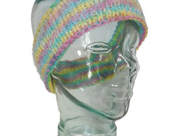 Reversible Child's Thick Wool Headband - Pink Blue and Yellow
