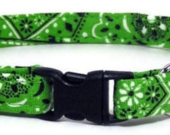 Cute Cat Collar - Lime Green Bandana - Breakaway Safety Cute Fancy Cat Kitten Collar