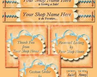 Etsy Banner Set - Premade Etsy Banner - Etsy Shop Banner - SHOP ICON - Shop Profile Photo - Simple Bright Orange Etsy Set - Ribbons - Scroll