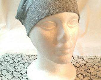 Navy Cotton and Light Blue/Grey Linen Expandable Headbands