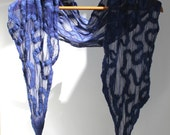 Blue Ripple Felt Scarf sheer silk cashmere-soft merino