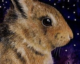 Easter Bunny Rabbit/ Stars Art by Melody Lea Lamb ACEO Print