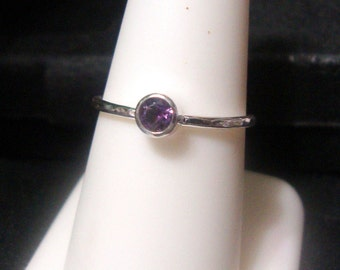Ring Purple Amethyst 4mm tube bezel set in eco friendly sterling silver from recycled sources  PEACE Custom made in your size - Apache Diye