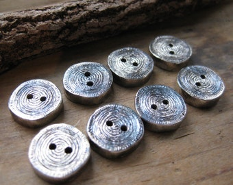 woodgrain 2 small BUTTONS solid sterling silver