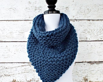 Instant Download Knitting Pattern PDF - Knit Cowl Scarf Knitting Pattern PDF for Bandana Cowl Chunky Scarf - Womens Accessories