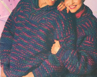 Sweater Knitting Patterns Special Effects Patons 689 Men Women Cardigan Turtleneck Coat Vintage Paper Original NOT a PDF