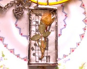 Real Yellow Rose Beveled Soldered Necklace with Leather Cord BFF gift