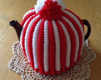 Red and White Striped Knitted Tea Cosy, Handknitted Teacosy, HandKnitted Teacozy