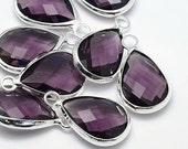 2 Amethyst Faceted Glass Pendants, Tear Drop with a Smooth Silver Plated Bezel