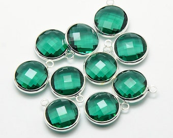 2 Faceted Round Glass Pendants, Teal Green Drops with a Smooth Silver Plated Bezel