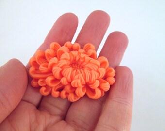 1 coral chrysanthemum cabochon large dahlia cabochon 50x35mm