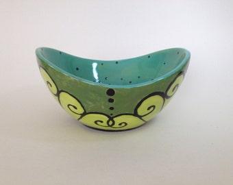 Hand painted elegant aqua green ceramic flare bowl