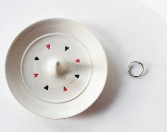 Black and Red Hearts Ring Dish - Wheel Thrown Ring Holder - Black, red and white Clay Pottery, In Stock
