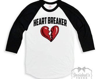 "Valentine Shirt Boy - Boys Valentine Baseball Retro Tee - ""Heart Breaker"" -  Black White Baseball - Size 4 Ready to Ship SALE"