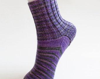 Kids Purple Socks. Preteen Knit Crew Socks. Gray and Purple Stripe. Wool Blend Childs Handknit Ankle Sox. Ribbed Cuff. Kids 10 to 12 Years