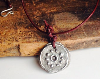 Pewter Pendant Necklace, Tribal Style Pendant, Leather Cord Necklace, Hand Cast Pewter, Artisan Necklace, Etsy, Etsy Jewelry