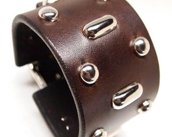 Brown Leather cuff Johnny Depp/ H.S.Thompson Fear and Loathing Style wristband bracelet Hand made for YOU in NYC by Freddie Matara