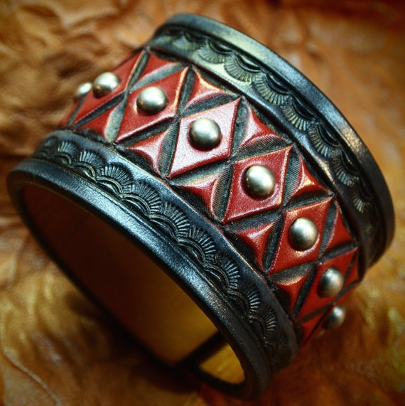 Leather cuff bracelet- American Cowboy King Black and Red Handcrafted for YOU in NYC by Freddie Matara