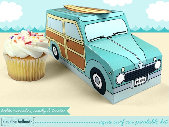 aqua woody surf car -  cupcake box holds cookies and treats, gift and favor box, party centerpiece printable PDF kit - INSTANT download