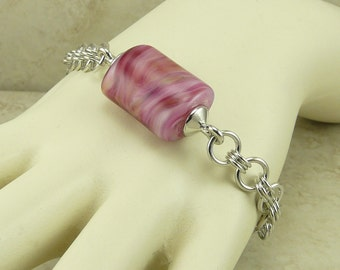 Melted Petal Hues Lampwork Bead and Chainmaille Bracelet > Valentines Day Love Pink Purple Mothers day - I ship Internationally B2-28